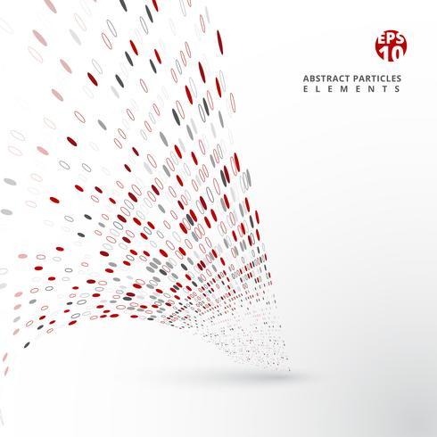 Los elementos rojos y grises abstractos de las partículas distorsionan en el fondo blanco. vector
