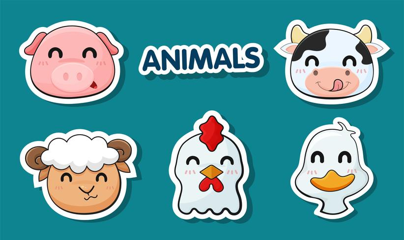 Cartoon faces of animals raised as food. vector