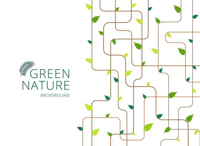 Abstract brown lines with green leaves on white background. vector