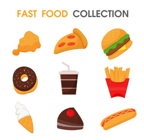 Junk food or fast food Collection set.