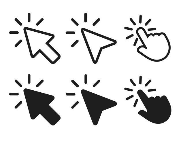 flèche et curseur en cliquant sur l'icône. illustration vectorielle