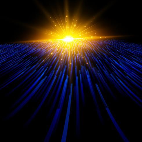 Abstrakt teknologi blå ljus laserlinjer perspektiv flyttar till belysningseffekt på mörk bakgrund. vektor