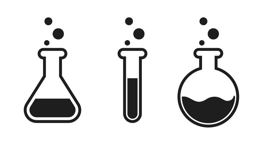 Icona di provetta liquida nel laboratorio di scienze.