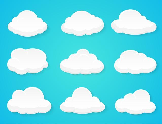 Platte vector wolken apart van de achtergrond ingericht