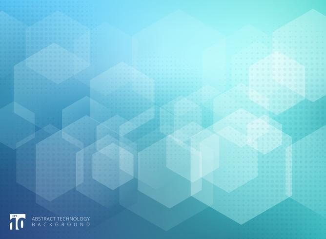Modelo geométrico abstracto de la capa del hexágono en fondo azul.