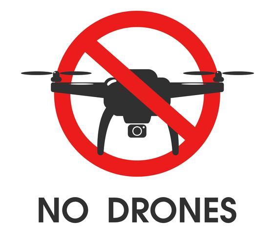 Sinais de Proibição. Não use drones nesta área.