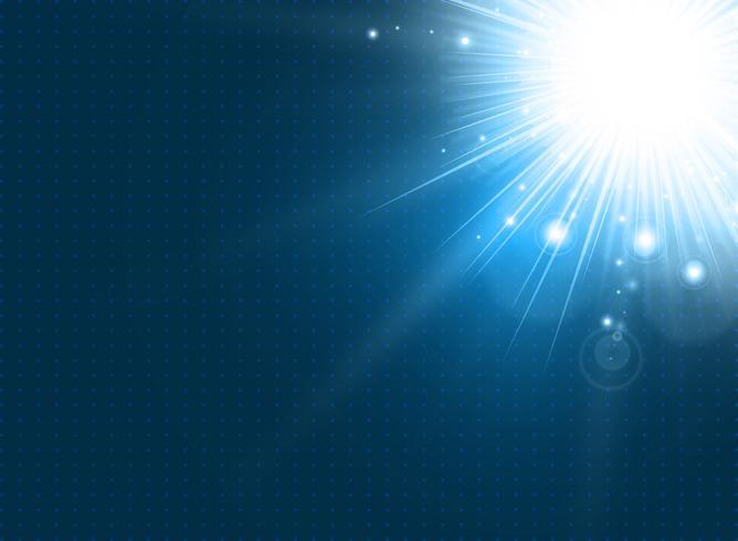 Abstrakte Technologie mit Beleuchtung barst auf blauem Hintergrund.