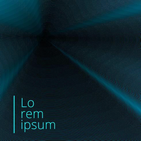Abstract blauw lijnen verdraaid patroon op zwarte achtergrond met exemplaarruimte.
