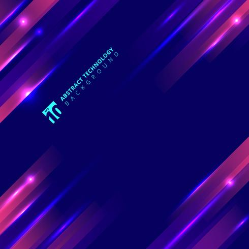 Abstract geometric motion with lighting glow technology colorful on dark blue background. vector