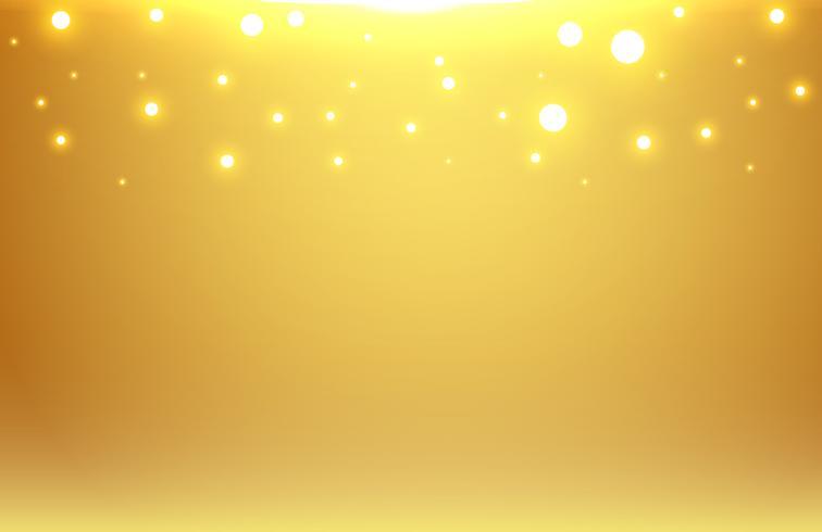 Fondo vago oro astratto con l'intestazione di scintillio dell'oro e del bokeh.