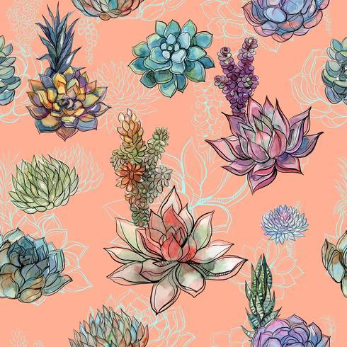 Naadloos patroon met succulents. Graphics. Waterverf. Vector
