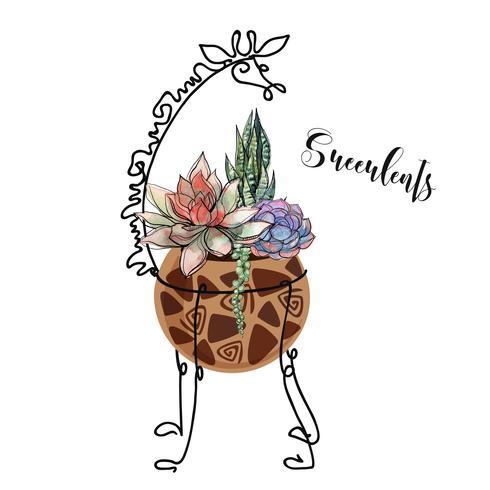 Succulents in a pot as a giraffe. Graphics with watercolor fills. Flower arrangement. Vector.