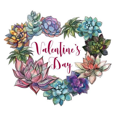 Cuore succulento San Valentino. Buon San Valentino. Cartolina
