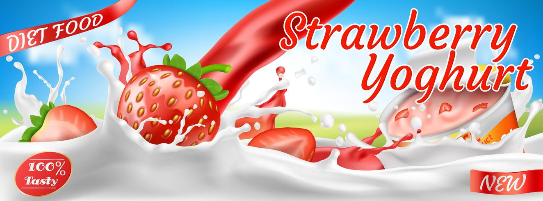 Banner colorido realista de vetor para anúncios de iogurte