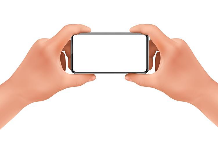 Vector 3d realistic hands holding smartphone, mock-up