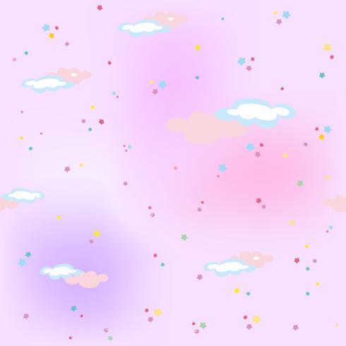 Cielo rosa con stelle e nuvole. Magico. Modello senza soluzione di continuità Vettore.