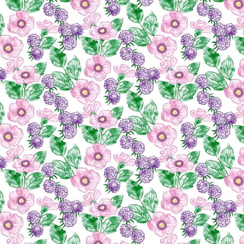 Watercolor Floral Seamless Pattern Design