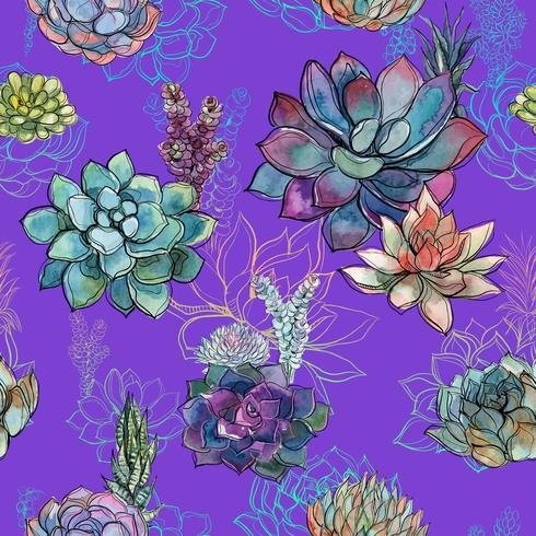 Seamless pattern with succulents on purple background. Graphics. Watercolor.