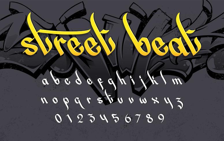 street beat graffiti stil alfabetet vektor