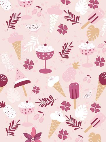 Summer prints, stickers,Summer fruit banner palm leaves birds vector image.