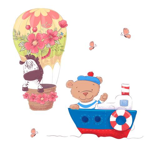 Cute cartoon animals transport vehicle ship and balloon. Vector