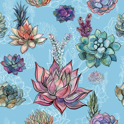 Seamless pattern with succulents on blue background. Graphics. Watercolor