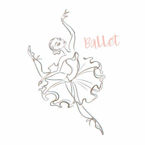 Girl ballerina. Ballet. Logotype. Dancer. Vector illustration.