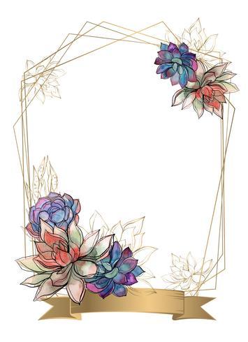 Cadre doré avec des fleurs succulentes. Aquarelle. Graphique. Vecteur. vecteur