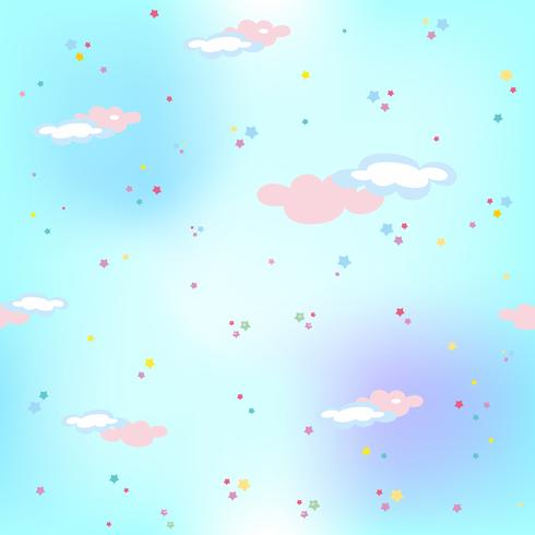 Blue sky with stars and clouds.Magic. Seamless pattern. Vector.