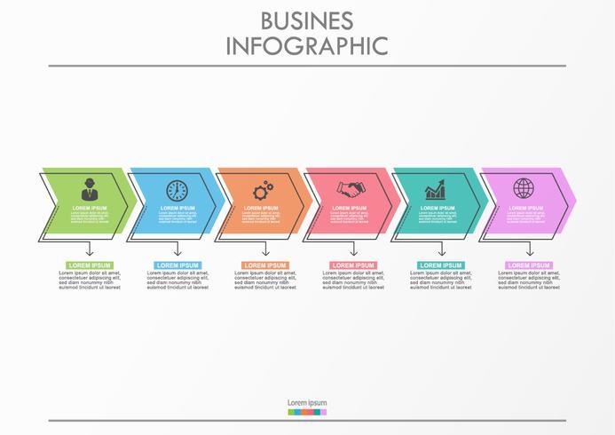 Bedrijfsgegevensvisualisatie pijltijdlijn infographic pictogrammen die voor abstracte achtergrondmalplaatje worden ontworpen.