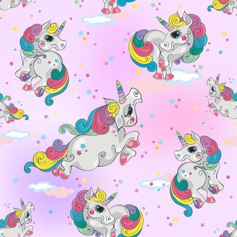 Modello senza cuciture con unicorni magici. Sfondo rosa cielo con stelle. Per ragazze. Vettore.