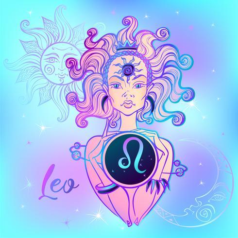 Signo del zodiaco Leo una niña hermosa. Horóscopo. Astrología. Vector. vector