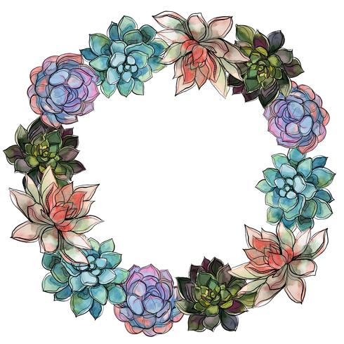 Wreath of succulents. Watercolor. Vector illustration.