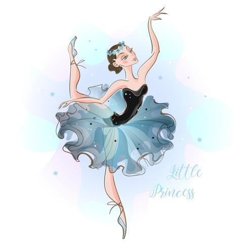 Lite ballerina. Ung prinsessa. Tjej i en tutu. Lilla prinsessan. Inskrift. Vektor.