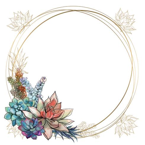 The frame is round. Gold frame with succulents flowers. Watercolor. Graphics