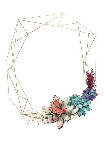 Gold geometric frame with succulents. Invitation. Vector.Watercolor. Graphics.