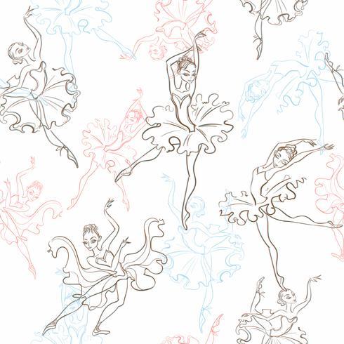 Ballerines. Modèle sans couture. Petite princesse. Danse. Illustration vectorielle