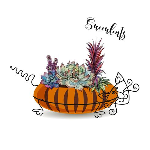 Decorative composition of succulents. In a flowerpot in the form of a striped cat. Graphics with watercolor. Vector.