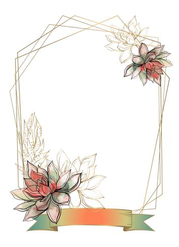 Gold frame with succulents flowers. Watercolor. Graphics