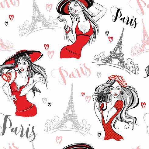 Patrón sin costuras Chicas elegantes en paris. Vector