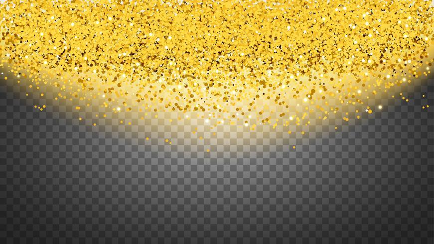 Círculo de purpurina dorada con pequeñas partículas. Fondo abstracto con destellos dorados sobre fondo transparente.