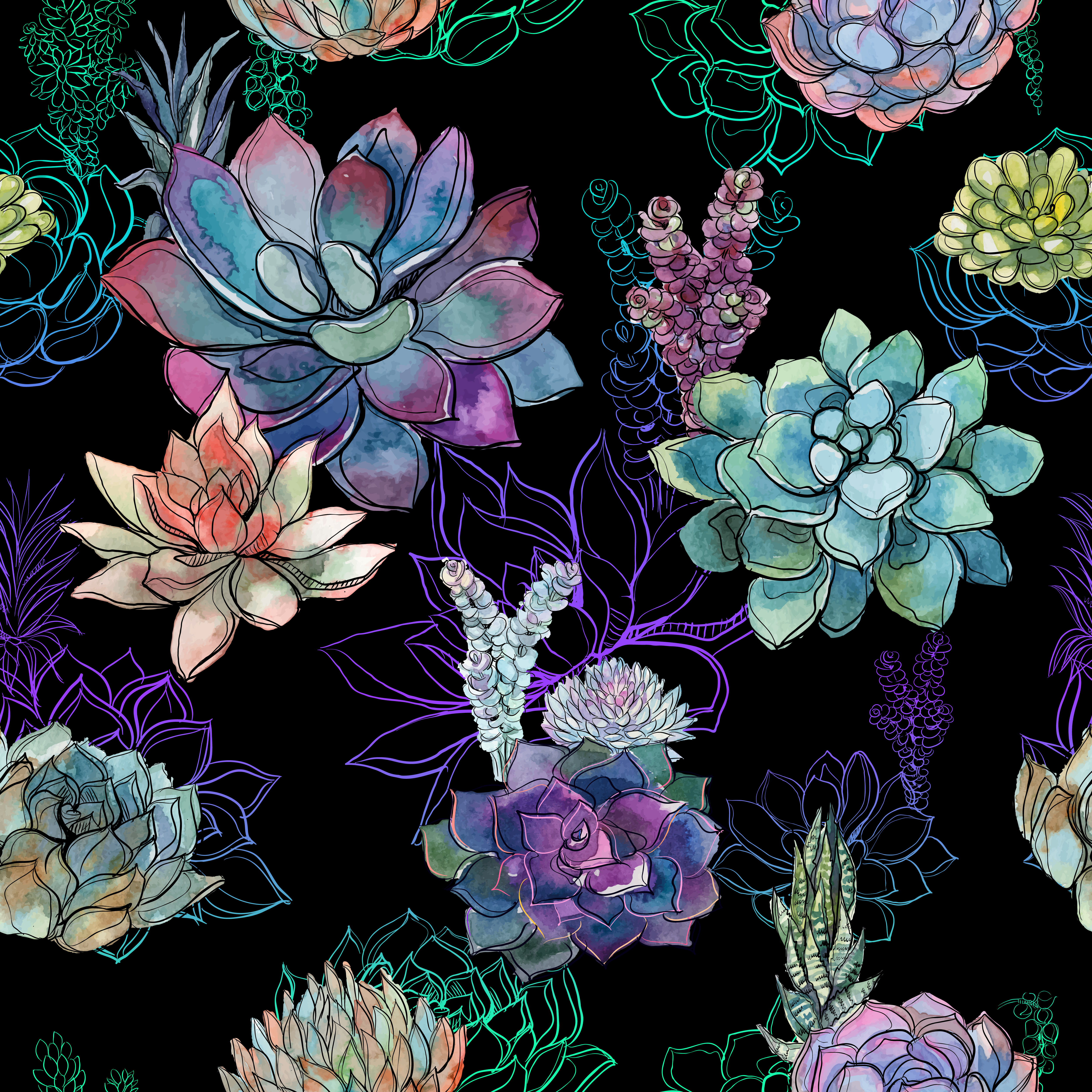 Seamless Pattern With Succulents On Black Background Graphics Watercolor Download Free Vectors Clipart Graphics Vector Art