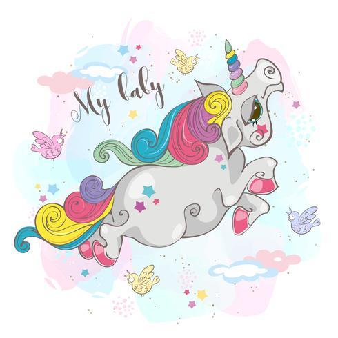 Magische eenhoorn. Mijn baby. Fairy pony. Regenboog manen. Cartoon-stijl. Vector