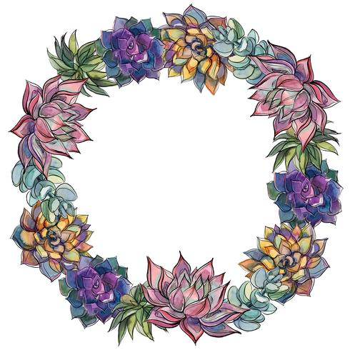 Wreath of succulents. Watercolor. Vector illustration
