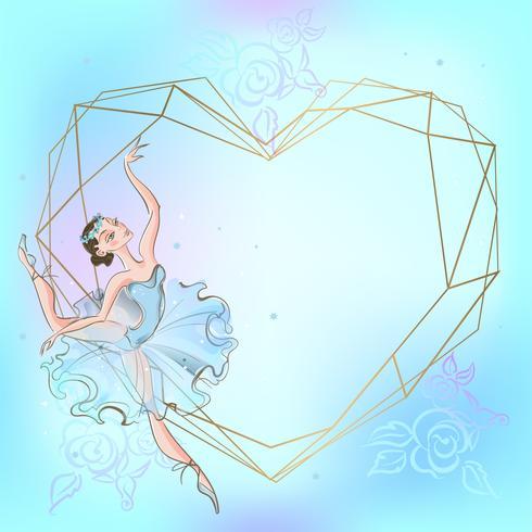 Frame heart with ballerina. Blue. Vector illustration.