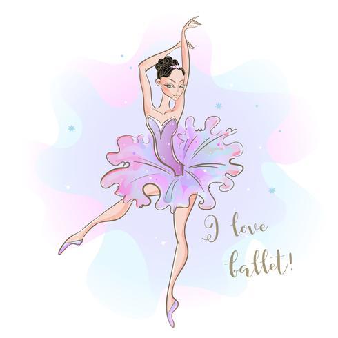 Ballerina i en rosa tutu. Jag älskar balett. Inskrift.