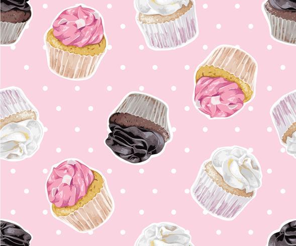 cup cake on polka dot seamless pattern illustration