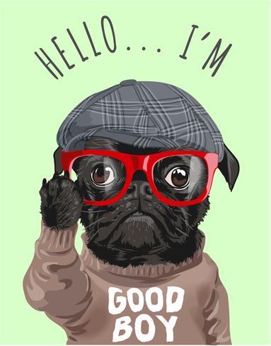 black pug dog in sweater cartoon illustration