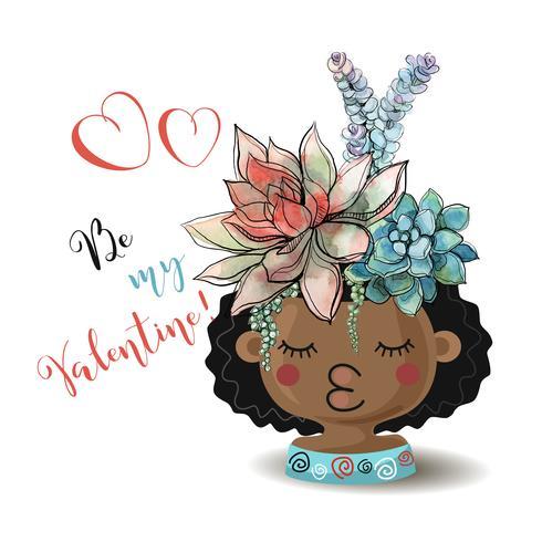 Feliz Dia dos namorados. Menina com suculentas flores. Aquarela Vetor. vetor