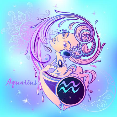 Zodiac sign Aquarius a beautiful girl. Horoscope. Astrology. Vector.